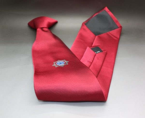SIA RED CLIP-ON TIE WITH SIA BADGE LOGO